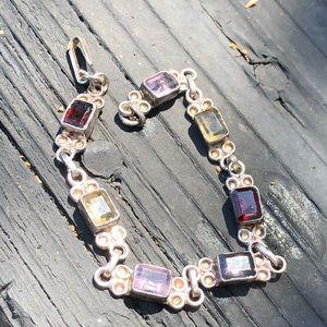 Jewelry - Garnet, citrine, amethyst SS bracelet